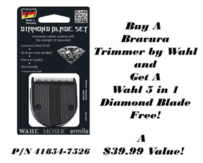 Receive a Free Wahl Diamond Blade when you purchase a Wahl Bravura Trimmer